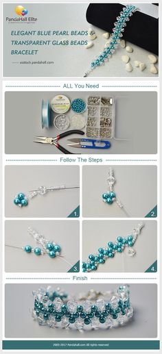 PandaHall Elite Craft Ideas: How to make bracelet with blue pearl beads and clear glass beads #pandahallelite #craft #bracelet #pearlbeads #glassbeads #craftideas #handmadebracelet