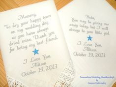 Mom & Dad Wedding Gifts Set of Two by CanyonEmbroidery on Etsy, $49.50 Make your wedding extra special by getting your handkerchiefs personalized! They make wonderful gifts for the Mother & Father of the Bride & Groom. And wedding party.