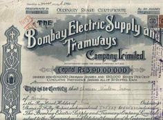 Vintage Bombay - Old Share Certificate of the Bombay Electric Supply and Tramways company.  #BEST #Mumbai pic.twitter.com/JRFCQCqkWP