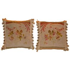 Pair of Muted Color Aubusson Pillows
