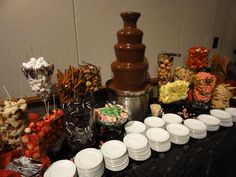 chocolate fountain foods Chocolate Fountains Just Wicked from Arizona Catering at Glendale Civic Center Chocolate Fountains Just Wicked from Arizona Catering at Glendale Civic Chocolate Fountain Recipes, Chocolate Fountains, Chocolate Fountain Wedding, Chocolate Fondue Fountain, Candy Table, Candy Buffet, Herbalife Shake Recipes, Fondue Party, Wedding Catering