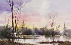 Last Glow by sterling edwards Watercolor ~ 22 x 30