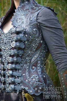 Fully hand carved leather corset armour by Rebecca Hedges for Absolute Devotion