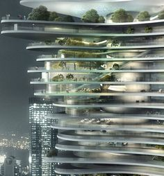 Interesting concept. Bringing nature into a vertical city by urban forests within buildings.