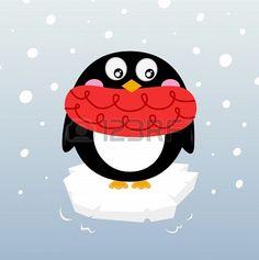 Illustration of Cartoon winter penguin. Vector illustration vector art, clipart and stock vectors. Christmas Holidays, Xmas, Penguins, Vector Art, Frozen Funny, Black Cartoon, Snow, Cold, Seasons