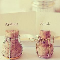 Champagne Cork Table Setting Place Card Holders For Wedding Or