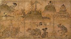 餓鬼草紙(がきそうし)::地獄の餓鬼道世界を主題とした絵巻。「正法念処経」の説く、現世の「原因(所業)」に対する来世の「結果(応報)」が描かれる。
