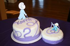 Cake for adult and cupcakes for the kids.