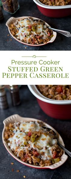 This Pressure Cooker Stuffed Green Pepper Casserole has all the flavors of stuffed green peppers but in an easy-to-make casserole. If you love stuffed green peppers, you're going to love this casserole.