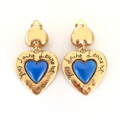 Vintage YSL Yves Saint Laurent Signature Blue Heart Drop Earrings #vintageYSLearrings #vintageheartearrings #heartearrings #gripoixchanel #gripoixparis #RobertGoossens #GoossensParis #vintageYvesSaintLaurent #vintageYvesSaintLaurentearrings #YvesSaintLaurent #SaintLaurent #gripoix #vintageGripoix #ChanelGripoix #GripoixChanel