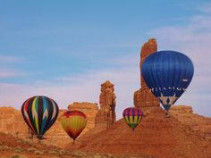 The red rocks spears and cliffs at Valley of the Gods in Utah make for a grand ballooning finale at the Bluff Balloon Festival.