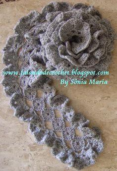 """""""FALANDO DE CROCHET"""": CACHECOL DE CROCHE GRAFITE (Crocheted Scarf) (Bufanda de Crochet)(Schal, häkeln)(foulard, crochet)(tørklæde, hækling)(وشاح ، والكروشيه)(шал, плетене)"""