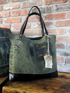 MILITARY BAG TOTE Leather & Canvas Utilitarian by TnBCdesigns