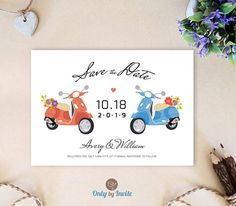 Printed Save the Date cards printed  Red and blue by OnlybyInvite