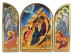 Nativity of Christ, Orthodox Triptych Icon - at Holy Trinity Store