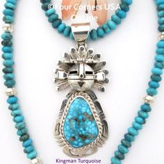 Four Corners USA Online - Kingman Turquoise Sun Kachina Pendant 21 Inch Bead Necklace Navajo Freddy Charley NAP-1533BDS, $755.00 (http://stores.fourcornersusaonline.com/kingman-turquoise-sun-kachina-pendant-21-inch-bead-necklace-navajo-freddy-charley-nap-1533bds/)