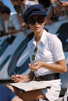 """toryburch: """" L is for La Vie Sportive Sportive style as seen on Nina Rindt, daughter of racing driver Curt Lincoln and widow of racing star Jochen Rindt, at the 1969 British Grand Prix. Photographed by Rainer W. Schlegelmilch at Silverstone, UK on Style Simple, Style Me, Classic Style, Jochen Rindt, British Grand Prix, Vintage Mode, Vintage Style, Wife And Girlfriend, Formula One"""