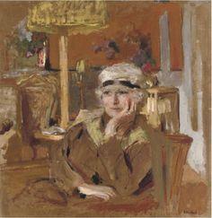 lawrenceleemagnuson:Edouard Vuillard (France 1868-1940) Lucy Hessel au ruban de velours noir (c. 1921-1925)oil on board laid down on panel 42 x 41cm