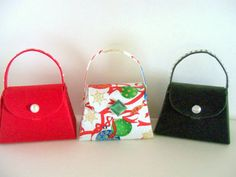 Christmas Fabric and  Paper Purse Party Favor by SuperCraftyLady, $13.50