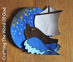 """This craft is simple, but fun. It will help reinforce the story of Jesus calming the sea. It's a nice reminder that when the world is raging around us, God is in control of it all. """"35That evenin..."""