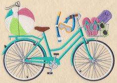 Beach Bum Bicycle design (M5832) from www.Emblibrary.com
