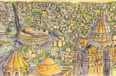 rome watercolor