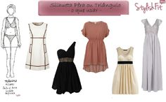 Silhueta Triângulo ou Pêra    vestidos   dresses    Vestidos evasé ou de corte império