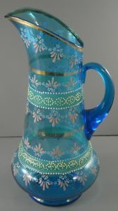 Victorian Hand Painted Turquoise Blue Glass Pitcher❤