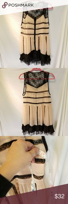 """NO LABEL  light pink/peach & black lace dress This gorgeous dress had its poor label cut out...i suspect it was because it would've been visible because the dress is sheer.   Other than the label being cut out, it's I  perfect condition.  Armpit:Armpit=17"""" nolabel Dresses Midi"""
