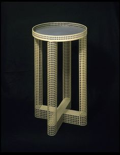 Josef Hoffmann, Smoking table, 1910. White enamelled zinc (re-finished), with a light grey-blue top.