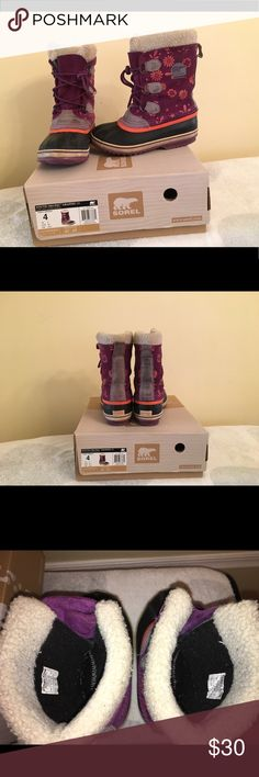 Youth size 4 girls Sorel Winter waterproof boots Youth size  4 girls Sorel Winter waterproof boots. Used and in good condition Shoes Boots