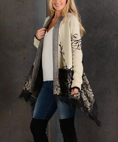Take a look at this Beige Floral Lace-Accent Sidetail Open Cardigan today! Drape Cardigan, Open Cardigan, Cold Weather Fashion, Winter Fashion, Floral Lace, Cardigans For Women, Plus Size Outfits, Plus Size Fashion, Kimono Top