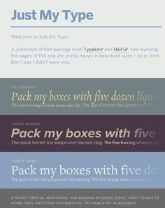 Just My Type: Type pairings featuring H and Typekit fonts