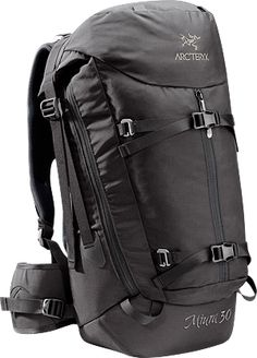 Miura 30 Drawbridge opening cragging pack, mid-sized, with interior gear loops and external straps for rope.