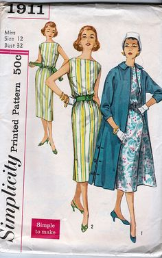 Simplicity 1911; ©1956; Jr. Misses' and Misses' One-Piece Dress and Coat; Size 12, B32, FF - New Vintage Studio