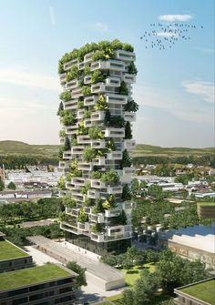 Stunning new project of a building covered with evergreen trees! La Tour des Cedres (The Tower of Cedar Trees) will be situated in Lausanne, Switzerland, and will contain more than one hundred evergreen trees, six thousand bushes and 18 thousand herbs. Architecture Durable, Futuristic Architecture, Concept Architecture, Sustainable Architecture, Amazing Architecture, Landscape Architecture, Architecture Design, Architecture Definition, Building Architecture
