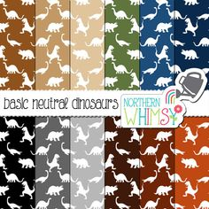Dinosaur Digital Paper boys scrapbook paper neutral colors