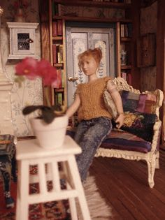 Doll by Taru Astikainen, styling by Hanna & Leijona Miniature Dolls, Miniatures, Portrait, Frame, Home Decor, Style, Picture Frame, Swag, Decoration Home