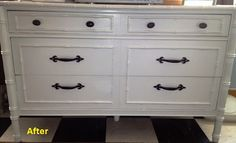 Before: A junky beaten up dresser.  After: Clean and chic.  Just shows what paint and a few knobs will do!