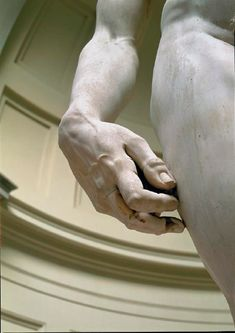 Close up of the right hand of Michelangelo's David. The detail of the veins, fingernails, everything is just amazing!