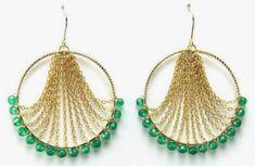 Jewelry Making Earrings Leah Green Onyx Earrings - Brownie Sparkles - These easy to wear hoop earrings are a delight to wear. I'm sure I've seen a similar pair on JLo before. Handmade Wire Jewelry, Beaded Jewelry Designs, Jewelry Patterns, Boho Jewelry, Earrings Handmade, Jewelry Crafts, Jewelry Ideas, Jewelry Bracelets, Jewellery