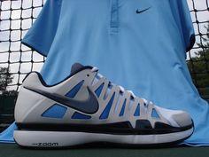 The Nike Hard Court UV Polo in University Blue and the Nike Vapor 9 Tour Mens Tennis Shoe