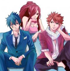 Jellal Fernandes, Erza Scarlet and Natsu Dragneel from Fairy Tail