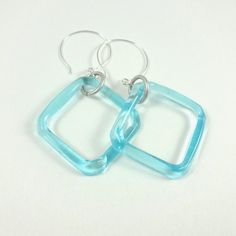 Aqua Blue Recycled Glass Square Earrings by CalliopeAZCreations, $20.00