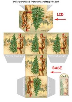 FATHER CHRISTMAS WITH TREE gift box Christmas tree decoration on Craftsuprint designed by Clive Couter - vintage image for gift box with matching gift tag and/or christmas tree decoration - suggest use reasonably thick card eg 190gsm (with thanks to panosfx)SEE MANY OTHER BOXES IN THE SERIES BY TYPING Clives boxes IN THE KEYWORD SEARCH BOX AT TOP OF PAGENow updated with punch hole marks for tie lid - Now available for download!