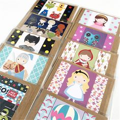 Kids Characters Birthday Set of 10 Greeting Cards for all Occasions