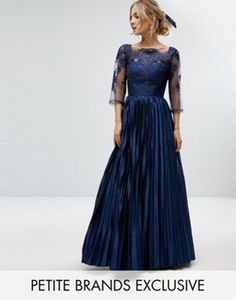 Chi Chi Petite Lace Top Maxi Dress With Pleated Skirt