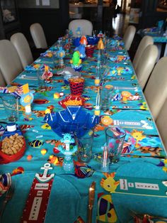 fish themed baby shower table setting