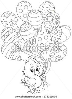 Free Easter colouring-in sheets for the kids Chick Holding Easter Balloons Free Easter Coloring Pages, Easter Coloring Sheets, Cute Coloring Pages, Coloring Easter Eggs, Printable Coloring Pages, Coloring Pages For Kids, Coloring Books, Colouring Sheets, Colouring In