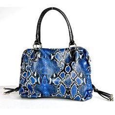 Large Dark Blue Snake Print Faux Leather Handbag (Apparel)